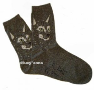 K.Bell Cat Face Socks Charcoal