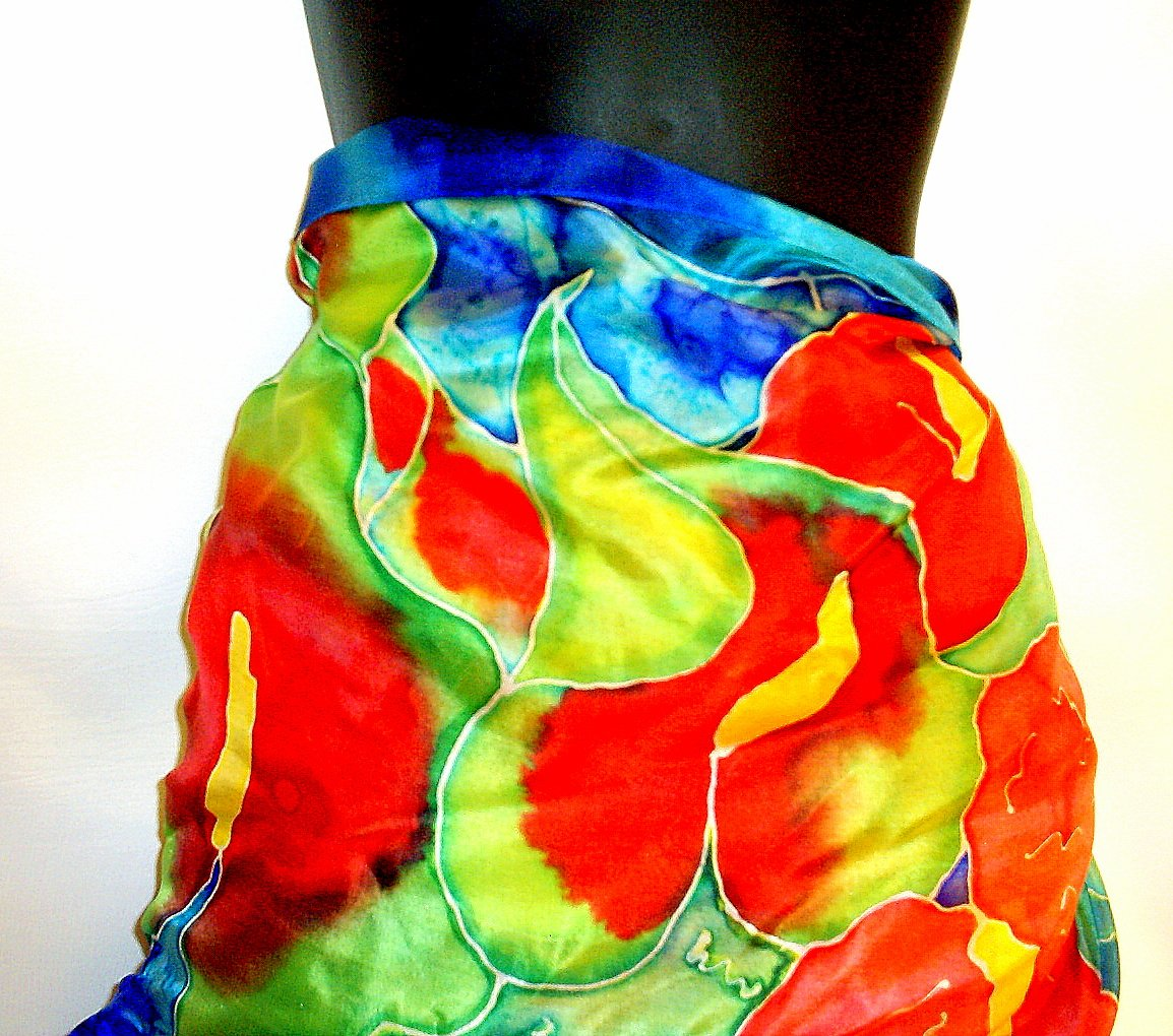 Green and red Anthurium silk pareo wrap
