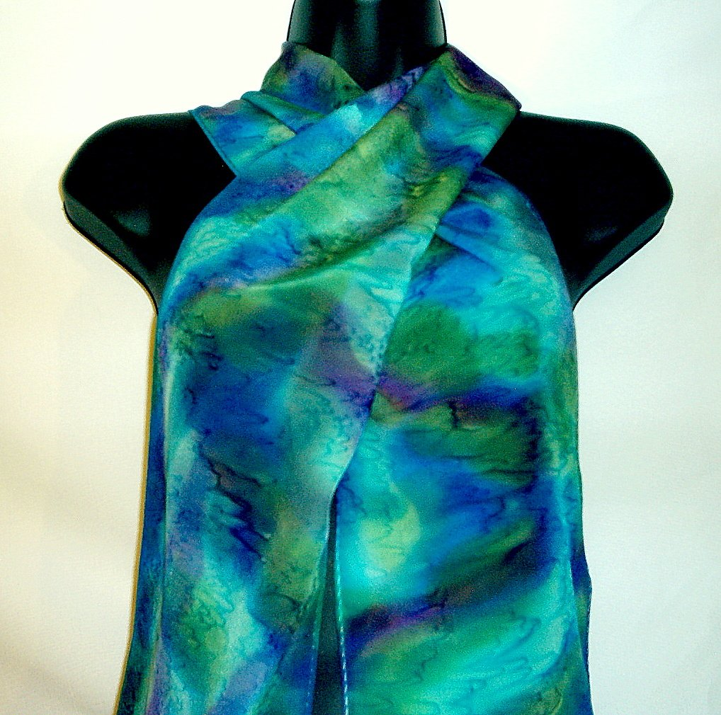 Blue and green silk crepe de chine scarf