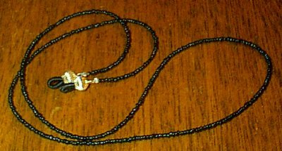 Black Beaded Eyeglass Chain Leash Holder 24 in Gold End