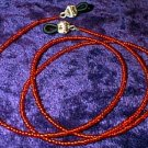 Silver Lined Red Glass Beaded Eyeglass Chain Leash Holder 24 in