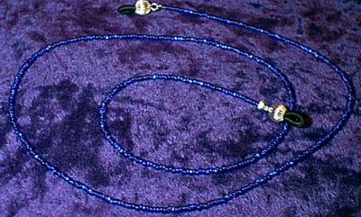 Silver Lined Cobalt Blue Glass Beaded Eyeglass Chain Leash Holder 24 in