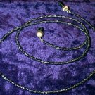 Silver Lined Black Glass Beaded Eyeglass Chain Leash Holder 24 in