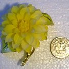 Goldtone & Enamel Yellow Flower Pin w Strange Petals