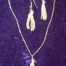 Tassle Necklace & Earrings Silver Plate New