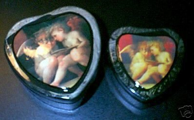2 New Laquered Angel Cherub Heart Nesting Boxes Gift