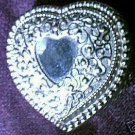 Silver Plated Filigree Heart Trinket Jewelry Box Blue