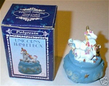 Unicorn Blue Trinket Box w Gold Stars Mom & Baby Boxed