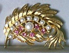 Faux Pearl & Pink Rhinestone Leaf Pin by GERRYS
