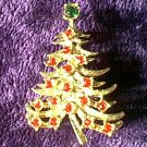 Red Rhinestone Christmas Tree Pin