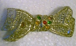 Crystal Colored Rhinestones on Old Silver Bow Bowtie Pin