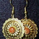 Goldstone in Golden Conchos Wire Earrings
