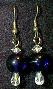 Swarovski Crystal & Cobalt Glass Beaded Wire Earrings