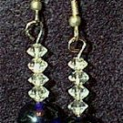 Swarovski Crystal Diamonds & Cobalt Glass Beaded Wire Earrings