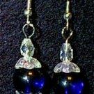Crystal & Cobalt Glass Beaded Wire Earrings