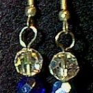Swarovski Crystal & Cobalt Czeck Glass Beaded Wire Earrings