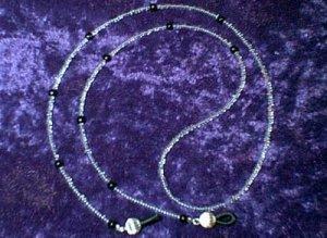 "24"" Small Crystal Clear Beaded Eyeglass Chain w Black"