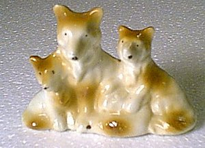 3 Ceramic Dogs Mom 2 Puppy Puppies Collie Sheltie Japan