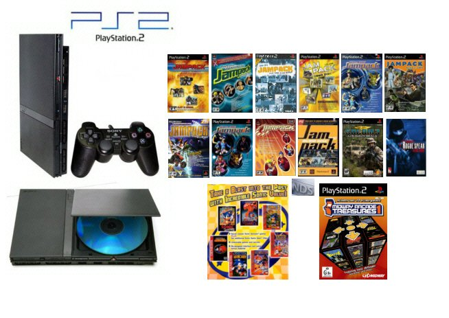 "New Slim Sony Playstation 2 ""Old School Bundle"" - 100 of Your Favorite Games + DVD Movie"