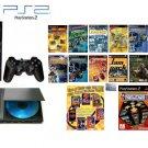 "New Slim Sony Playstation 2 ""Old School Bundle"" - 100 of Your Favorite Games + DVD Movie"