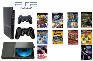 "Slim Sony Playstation 2 ""Value Bundle"" - 30 Games, 2 Controllers and DVD Movie"