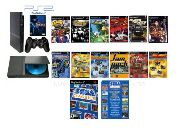 "New Slim Sony Playstation 2 ""Sega Classics Bundle"" - 75 Games + Wireless Controller"