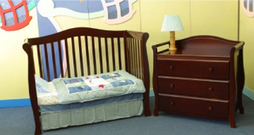 Giovanni Rizzo Venice Cherry Full Size Baby Crib Set with 3 Drawer Changer MSRP $1299.99