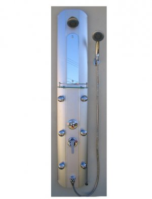 "Ikasumoto 59"" Aluminum Shower Panel with 6 Jet Massage Showerheads"