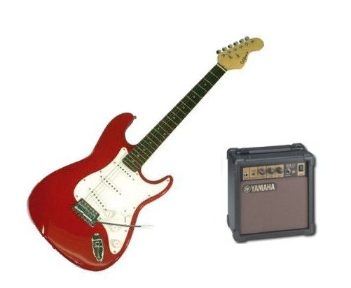 Bridgecraft Electric Guitar with Amplifier Package (Red)
