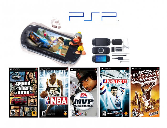"Sony PSP ""Super GTA Bundle""  5 of the Hottest Games With Extra Accessories"