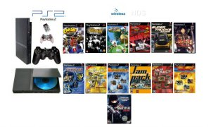 "New Slim Sony Playstation 2 ""Super Wireless Bundle"" - 65 Games + Wireless Controller"