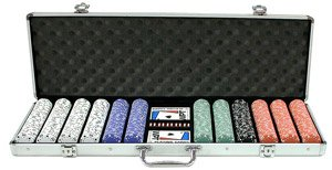 600PC 13.5GRAM PRO CLAY STRIPE SUIT POKER CHIP SET WITH ALUMINUM CASE