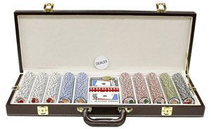 500PC 9GRAM PRO LAS VEGAS CLAY POKER CHIP SET WITH DELUXE GENIUNE LEATHER CASE