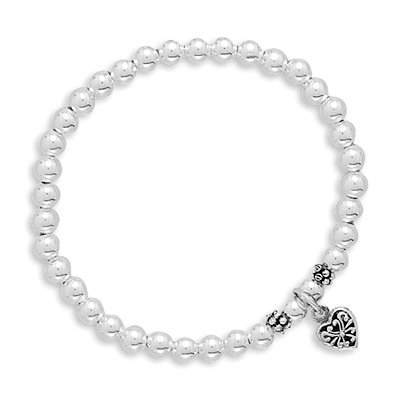 Childrens Silver Bead and Reversible Heart