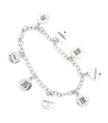 Sterling Silver Chinese Symbol Bracelet, Wisdom, Love, Peace,Wealth size 7