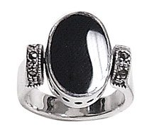 Sterling Silver Reversible Onxy Mother of Pearl  Inlay Ring womens size 7