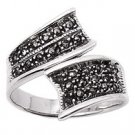 Sterling Silver Ribbon Marcasite Rhodium Womens Ring
