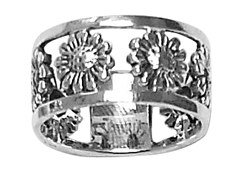 Sterling Silver Open Flower Band Ring Womens size 7