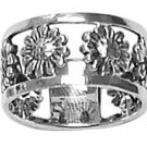Sterling Silver Open Flower Band Ring Womens size 8