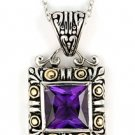 Sterling Silver and Gold Two Toned Amethyst Square Pendant with 18'' Chain