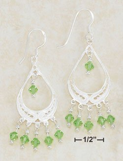Sterling Silver Light Green Swarovski Crystal Dangle Earrings with French Hook