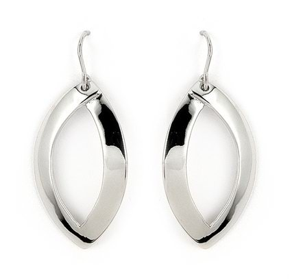 Classy Ferroni High Polished Oval Hoop Curved Dangle with French Hook