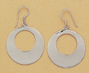 "Contemporary Sterling Silver ""O"" Hoop Dangles with French Hook and Rhodium Finish"