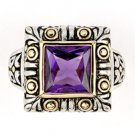 Sterling Silver  Gold Two Toned Amethyst  Square Ring Womens size 7