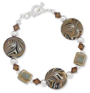 Sterling Silver Australian Crystal Bead Toggle Bracelet