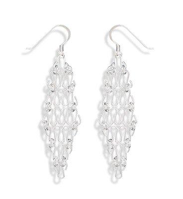 Sterling Silver Diamond Shaped Chain Earrings