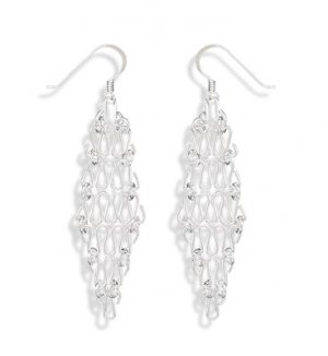 Sterling Silver Diamond Shaped Chain Earrings