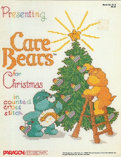 Care Bears for Christmas Counted Cross Stitch Pattern Book Vintage 80s Paragon Charts
