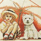 Cross Stitch Girl and Dog under Umbrella Kim Anderson Original Chart Rico Design 71907