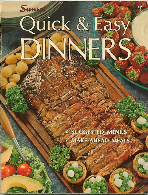 Sunset Quick and Easy Dinners Vintage 60s Cookbook sc